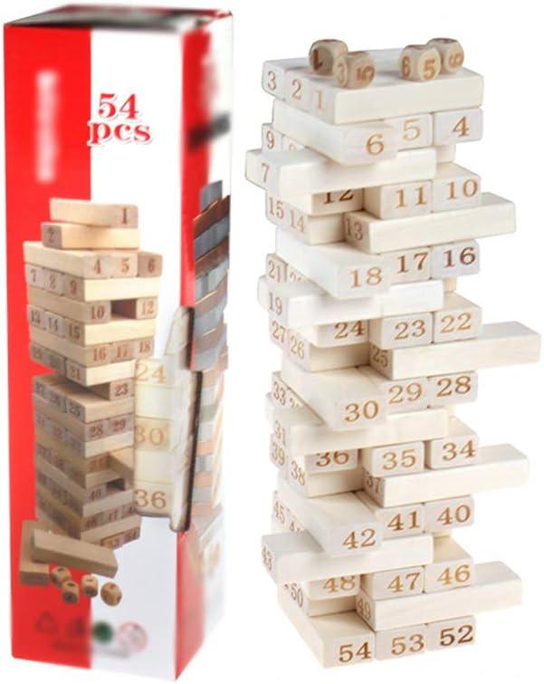 YUHEN Torre de Madera Juego Grande, Torre de Bloques para Aprendizaje Divertido, Juego de Habilidad con 54 Bloques de Madera: Amazon.es: Deportes y aire libre