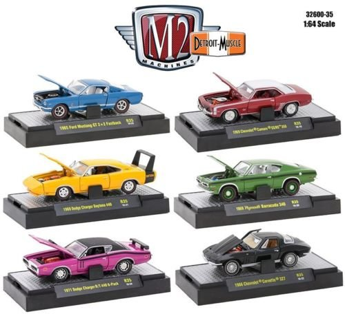 Muscle Cars Machines (1:64 M2 MACHINES COLLECTION - DETROIT MUSCLE RELEASE 35 IN ACRYLIC DISPLAY CASES Diecast Model Car By M2 Machines Set of 6 Cars)