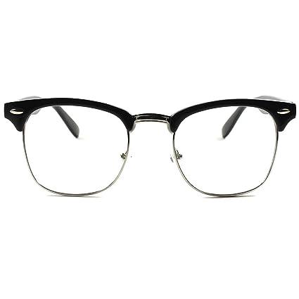 ebec6861985 Clear Lens Clubmaster Glasses - Fashionable and Practical Half Frame Style  Unisex Nerd Retro Vintage Eyewear