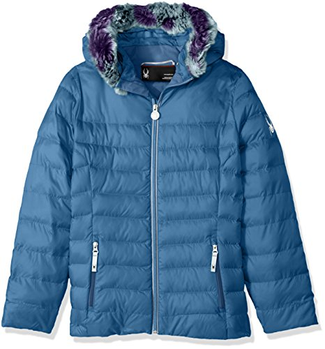 French Fur Faux Hoody Jacket Girl's Down Spyder Timeless Blue q06gHwxv