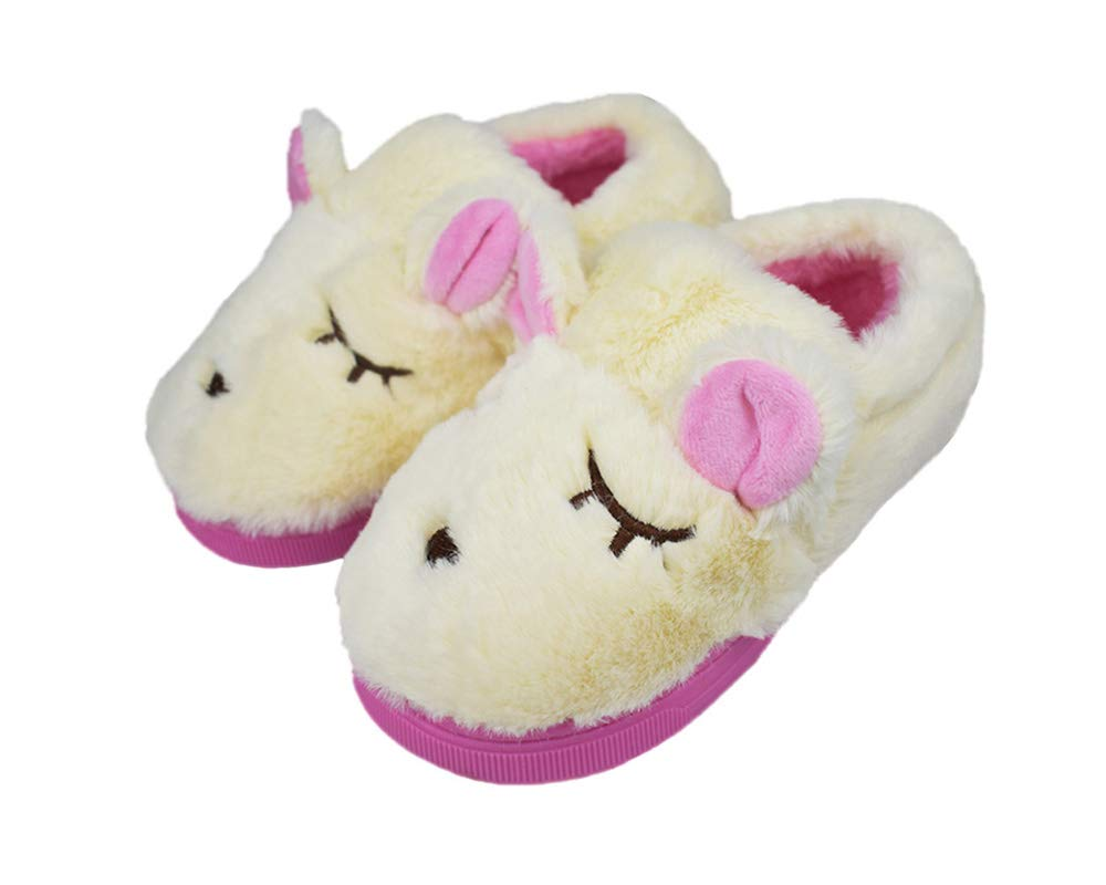Girls Little Child Comfy Fleece Plush Indoor Slippers Cute Cartoon Warm Shoes Size 10.5-11.5 US Off-White