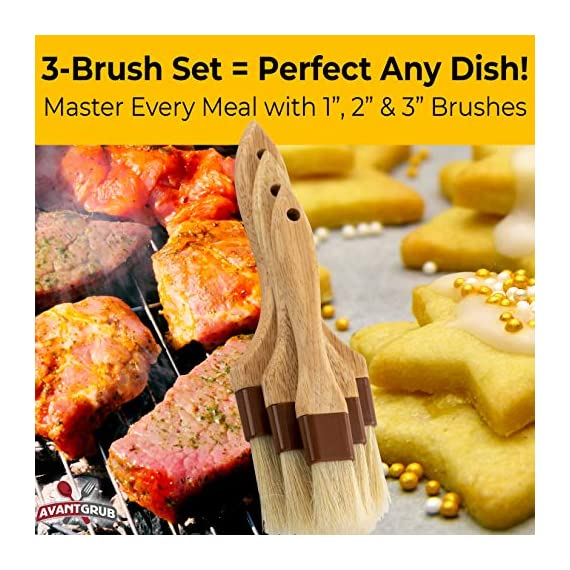 Restaurant-Grade Boar Hair Pastry and Basting Brush Set of 3 (1, 2 and 3 Inch). Ultra-Fine Hardwood Flat Brushes for… 6 MAKE BAKING A BREEZE WITH PRO-GRADE PASTRY BRUSHES! These restaurant-grade flat brushes are perfect for applying glaze or egg wash to bread dough and desserts. Grease pans and cookie sheets with ease! GENUINE HARDWOOD AND BOAR HAIR FOR NATURAL, DURABLE TOOLS. Built to last by pro chefs, this brush is equipped with a solid wood handle and reinforced boar bristles to stop shedding and last longer. GUARANTEED FOR LIFE. We offer a No-Nonsense Lifetime Satisfaction Guarantee on all of our kitchen accessories and supplies. If at any point you're not 100% happy, just send us an email, and we promise to make it right!