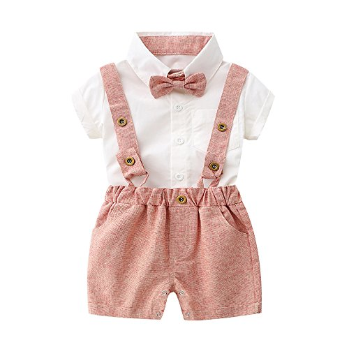 Tem Doger Baby Boys Cotton Gentleman Bowtie Short Sleeve Shirt+Overalls Shorts Outfits Set (Pink, 70/0-6 Months) (70 Party Clothes)