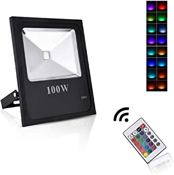 Sararoom 100W RGB Foco LED,IP65 focos led exterior,16 Colores ...