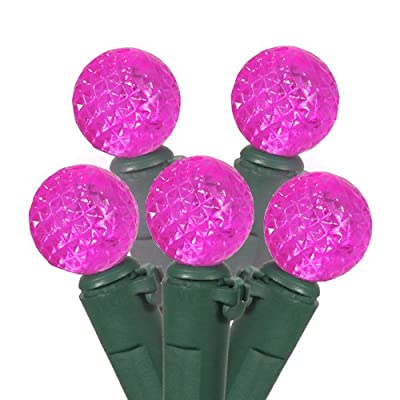 Set of 50 Pink LED G12 Berry Fashion Glow Christmas Lights - Green Wire