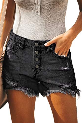onlypuff Women's Fringed Hole Shorts Frayed Ripped Raw Hem Denim Jean Shorts Black M