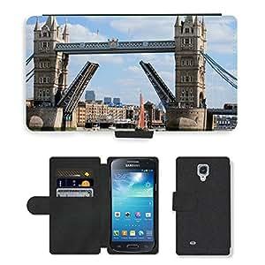Hot Style Cell Phone Card Slot PU Leather Wallet Case // M00171114 Tower Bridge Bridge Opening Landmark // Samsung Galaxy S4 Mini i9190