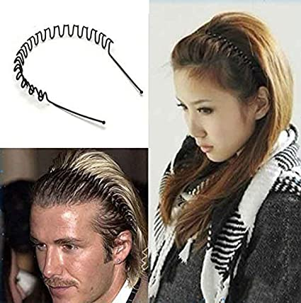 Ekan Pack Of 6 Black Color Zigzag Wavy Hair Band For Daily Use