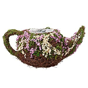 "Lillian Rose 10.25"" Rattan & Moss Teapot Basket 2"