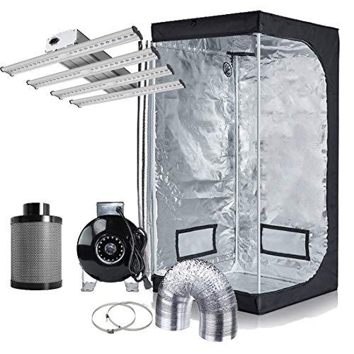 (Hydro Plus Grow Tent Complete Kit Full Spectrum Pre-Installed LED 240W Grow Light + 4
