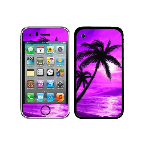 Graphics and More Protective Skin Sticker Case for iPhone 3G 3GS - Non-Retail Packaging - Palm Trees And Sunset Pink Beach Tropical Ocean (Skin Case 3g)