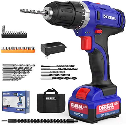 """DEREAL Pro Cordless-Drill-Driver-Tools-Set 20V Max Lithium Ion Power Drill Driver Kit Electric Screwdriver with Accessories 3/8"""" Keyless Chuck 350in-lb Torque 23+1 Setting Variable Speed with LED"""