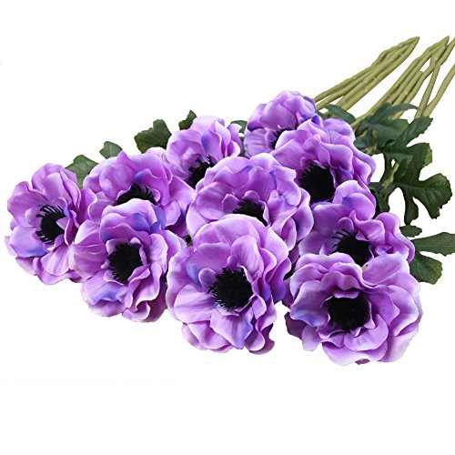 Htmeing 10pcs Artificial Anemone Full Blooming Flower Bushes with Green Foliage for Mother's Day or Decoration for Home, Restaurant, Office & Wedding (Purple)