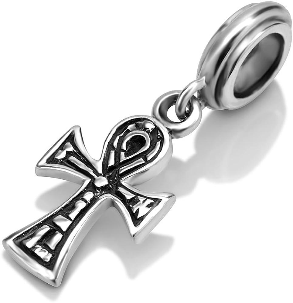 Egyptian Ankh Cross Religious Key Of Life Dangle Charm Bead For Women Teen 925 Sterling Silver Fits European Bracelet