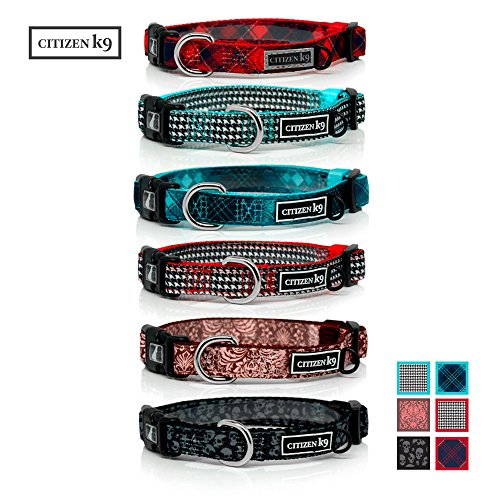 Buju Citizen K9 Dog Collar – Adjustable Large Medium Small xs Stays for Dogs & Cats – Red Navy Blue Plaid Small – Strong Durable - Polyester Training Collars with Matching Leash Available