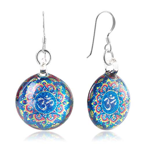 - Sterling Silver Hand Blown Glass Blue Om Ohm Aum Symbol Mandala Design Round Dangle Earrings