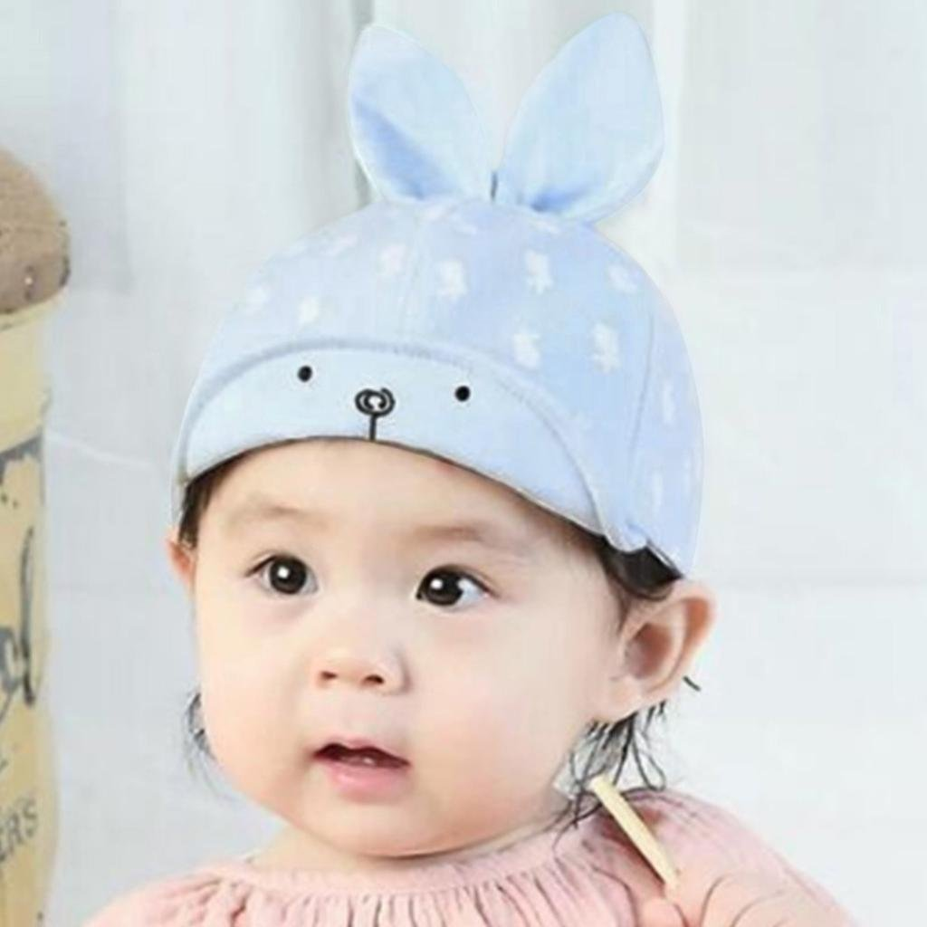caeb36f5d13 Cute Rabbit Cartoon Bunny Ears Adjustable Cotton Hat Sun Caps for Kids  Infant Baby Boys Girls (Blue)  Clothing