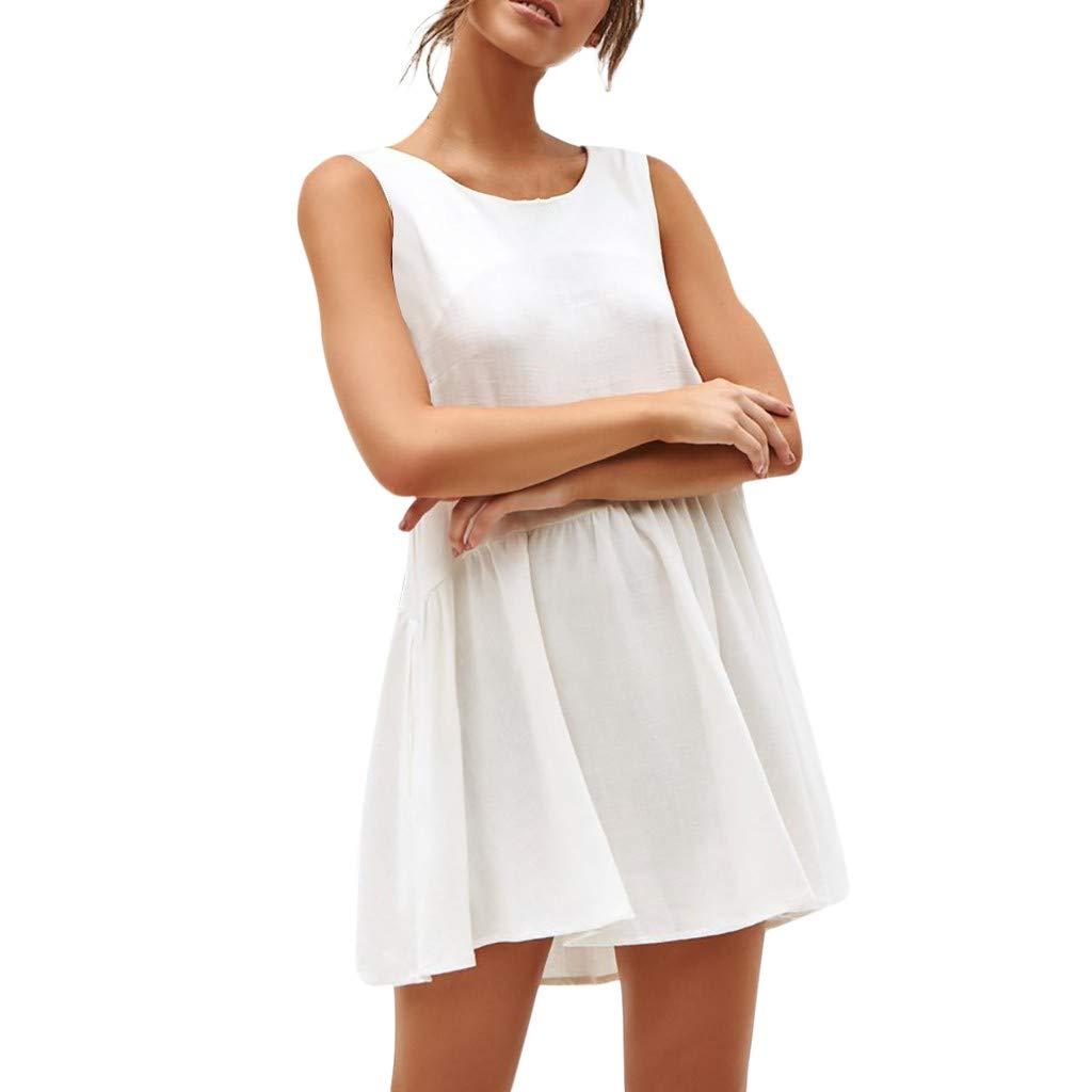 Women Sleeveless Solid Backless O-Neck Casual Chiffon Mini Beach Sexy Dress (White, XL)