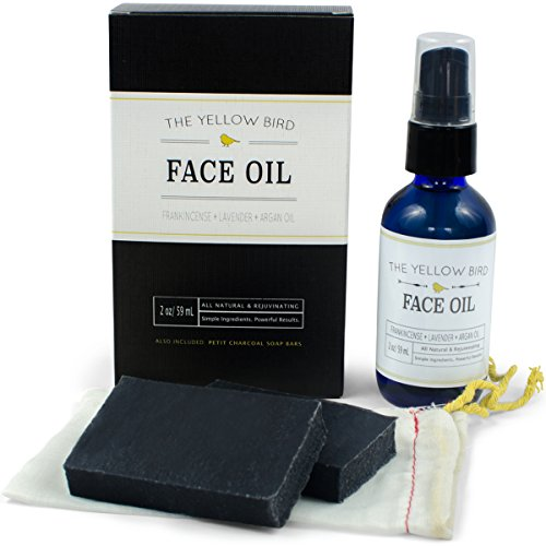 All Natural Charcoal Face Soap & Moisturizing Face Oil Set. Acne Skincare Kit. Gentle Facial Soap & Anti-Aging Face Oil Moisturizer for Dry Sensitive Skin. Dry Skin Treatment for Men - Skin Yellow Based Tone