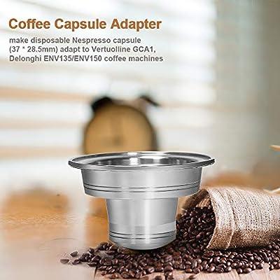 Hylotele Adaptador de cápsula de café Convertidor de cápsula de café de Acero Inoxidable Adaptador de cápsula Nespresso para máquina de café Vertuolline GCA1 Delonghi ENV135 ENV150 Convertidor de cáp: Amazon.es: Hogar