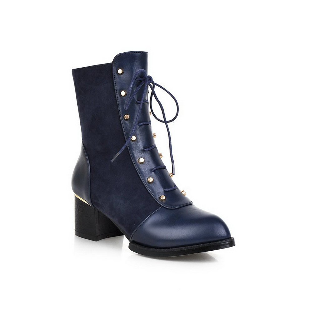 BalaMasa Ladies Bandage Studded Rivet Chunky Heels Blue Imitated Leather Boots - 4 B(M) US