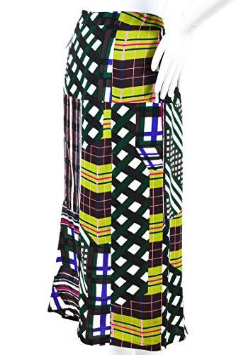 Marni Women's Green Multicolor Mixed Plaid Checkered Print Midi Skirt SZ 40
