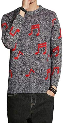 メンズ ニットセーター 音符プリント 丸首 Uネック カジュアル ゆったり 秋冬 インナー アウター 4色