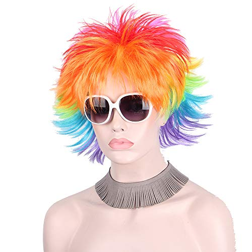 Rainbow Colorful Big Fans Party Wigs For Women Men Kids Colorful Football Hair Afro Clown Cosplay Wig Red Green Purple Blue T1/27 12inches -