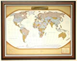 Personalized Push Pin World Travel Map with Custom Brushed Gold Plaque