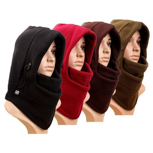 Eforstore 6 in 1 Thermal Fleece Balaclava Hat Hood Police Swat Ski Bike Wind Stopper Face Mask New Caps Neck Warmer