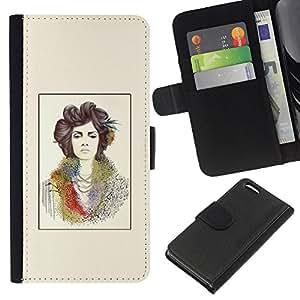 KingStore / Leather Etui en cuir / Apple Iphone 5C / Pintura del arte del cartel amarillo;