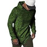F.Honey Men's Long Sleeve Hooded Slim Fit Crew Neck SWAG Curved Hem Hipster Hip Hop T-Shirt Hoodies (Hooded - L, Green)