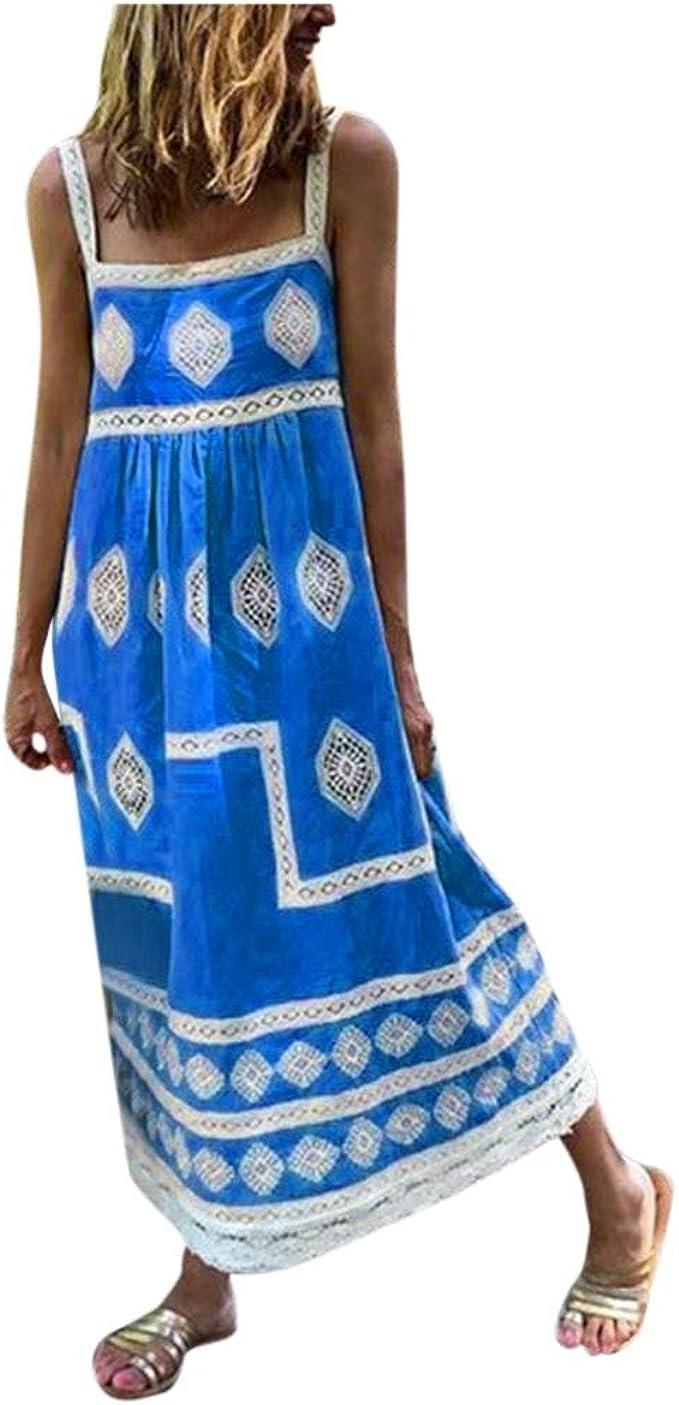 UK Womens 3//4 Sleeve Casual Loose Floral Dress Holiday Party Kaftan Maxi Dresses