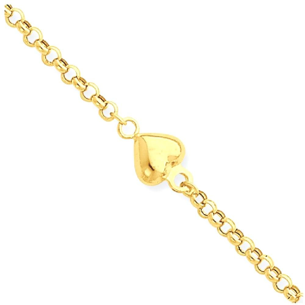 ICE CARATS 14k Yellow Gold Puff Heart 9 Inch 1 Adjustable Chain Plus Size Extender Anklet Ankle Beach Bracelet Fine Jewelry Gift Set For Women Heart