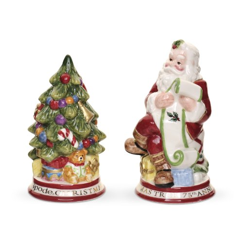 Spode Christmas Tree Salt - Spode Christmas Tree Sculptural Santa and Tree Salt and Pepper Shakers