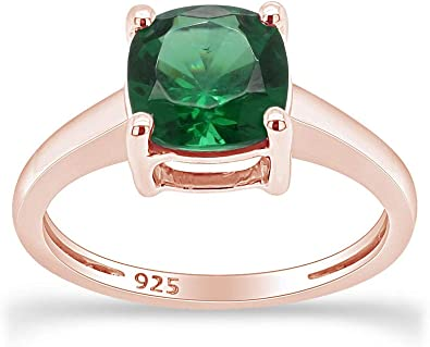 Wishrocks Oval Cut Simulated Emerald /& White CZ Halo Pendant Necklace in Sterling Silver