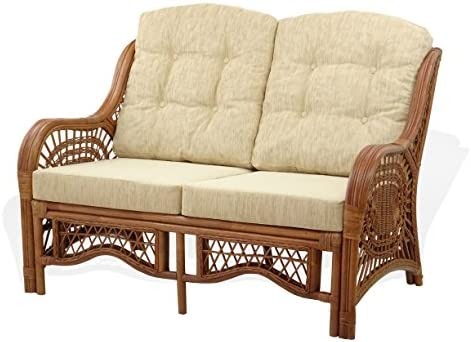 Malibu Loveseat Natural Rattan Wicker Handmade with Cream Cushion Colonial Color