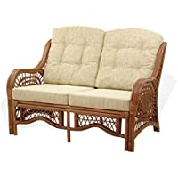 Lounge Malibu Loveseat Sofa ECO Natural Rattan Wicker Handmade Design with Cream Cushions, Cognac