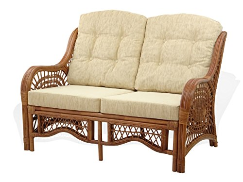 Malibu Living Room Sofa - Malibu Loveseat Natural Rattan Wicker Handmade with Cream Cushion Colonial Color