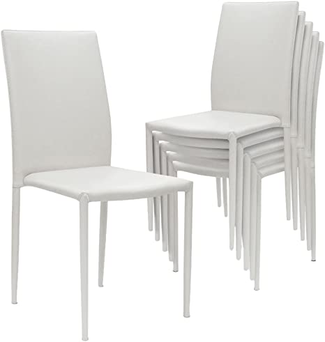 Lot de 6 chaises empilables Modan simili cuir Blanc