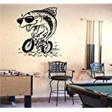 Wall Sticker Mural Vinyl Motocross Fish on a Bike Bicycle Bike Bmx Logo S5651