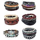 MJartoria Unisex Leather Hemp Cords Beaded Multi Strands Wrap Bracelets Set Pack of 6