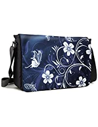 Meffort Inc 17 17.3 Inch Laptop / Notebook Padded Compartment Shoulder Messenger Bag - Gray Black Butterfly