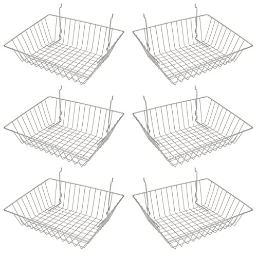 Epoxy Chrome Multi-Fit Sloping Wire Basket for Slatwall, Pegboard or Gridwall (Set of 6) Metal Semi-Gloss Basket, Epoxy Chrome by Econoco