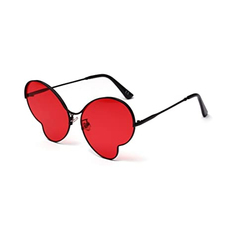 ZYT Occhiali Da Sole Farfalla Ultra Sottile Luce Cornice Metallica Colore Trasparente Donne Occhiali Da Sole,RED