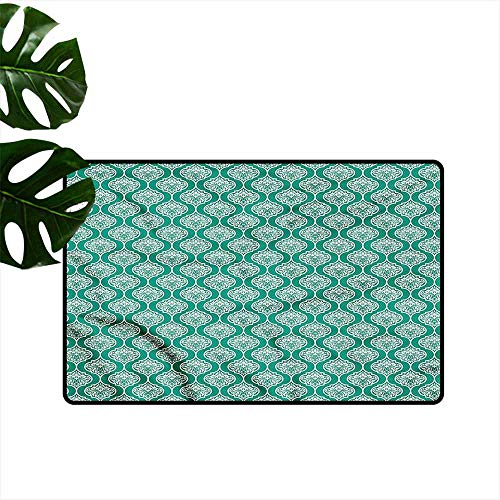 DONEECKL Outdoor Doormat Victorian Polka Dots Curved Stripes Quick and Easy to Clean W30 xL39 ()