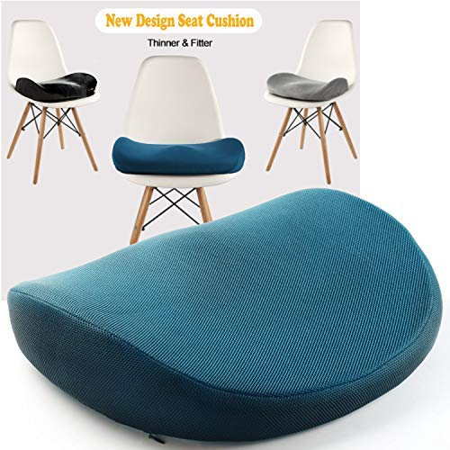 (Japanese Seat Cushion – Advanced Comfort Memory Foam, Washable, Non Slip Cushion Orthopedic Design to Relieve Back Sciatica Coccyx, and Tailbone Pain (Blue))