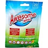 Awesome Wipes AWBS20PK Disinfecting Screen Cleaning Wipes for Electronics - Anti-Static, Streak-Free, Lint-Free, 20 Pre-Moistened Wipes in Resealable Pouch