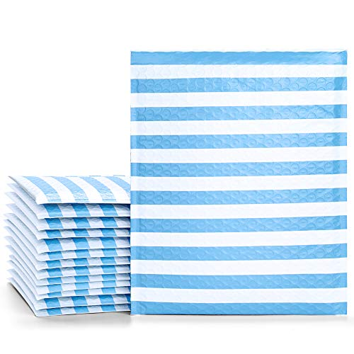 Fu Global #5 10.5x16 Inches Poly Bubble Mailers Padded Envelopes Pack of 25 (Blue Stripe, 10.5x16)