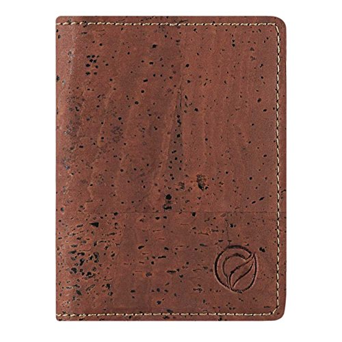 Corkor Slim Wallet for Men RFID | Vegan Non Leather | Bifold for Cards Cash Red Color ()